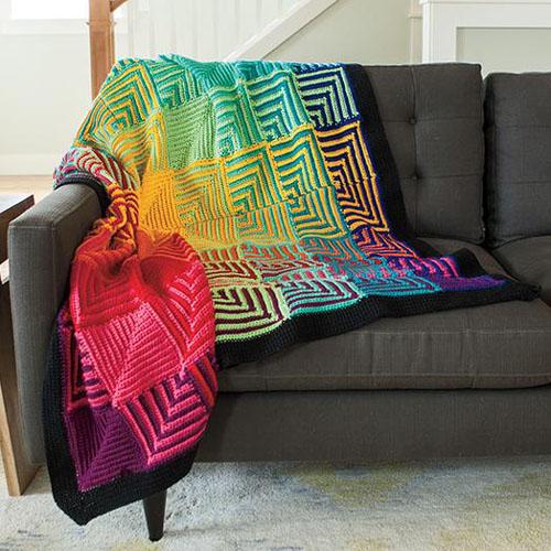 Hue Shift Crochet Afghan - Free Pattern