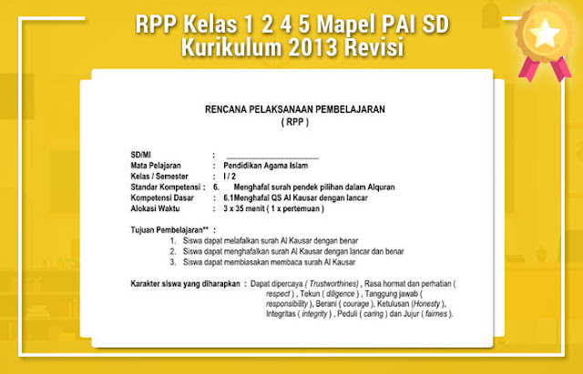 RPP Kelas 1 2 4 5 Mapel PAI SD Kurikulum 2013 Revisi