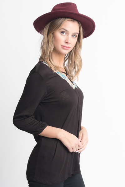 Shop for Black Cross Front Blouse -Criss Cross Front Floral Trim Elastic Cuff Top on caralase.com