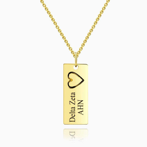 Vertical Bar Necklace For Couples With Engraving 14k Gold Plated Silver