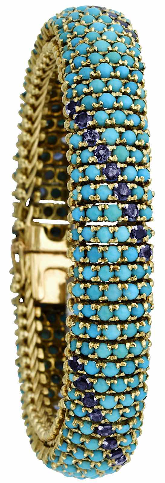 color photograph of a Turquoise and Sapphire bracelet, 1950