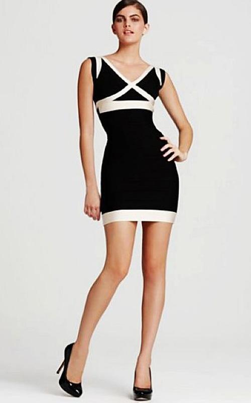 b0ddcc578c33 Discount Herve Leger V- Neck Colorblocked Bandage Dress