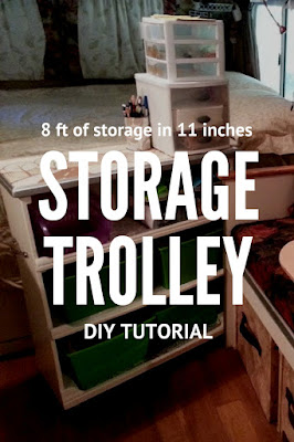 """DIY Tutorial for Rolling Storage Trolley with 8' of Storage in 11"""" and FREE Landscape Pattern"""