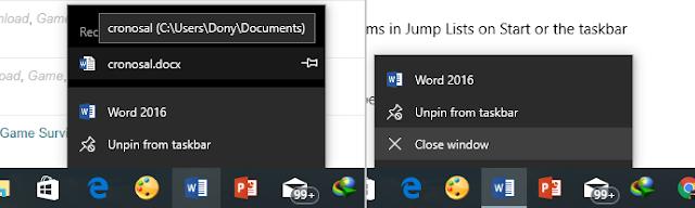 Cara Menyalakan dan Mematikan Jump List di Windows 10