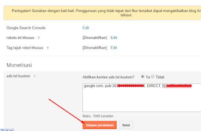 Mengaktifkan Ads.txt Di Platform Blogger