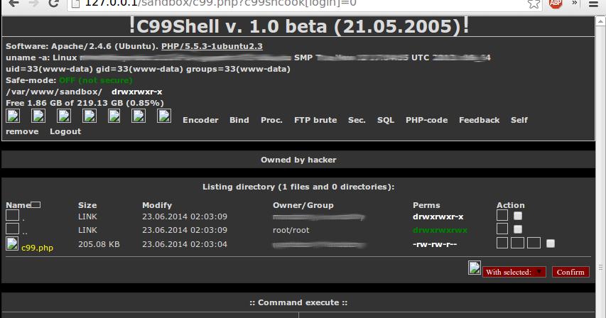 Está el shell C99? - Sí, pase, pase    : hackplayers