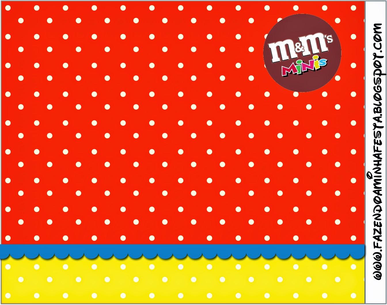 Etiqueta M&M para Imprimir Gratis de Rojo, Amarillo y Lunares Blancos.