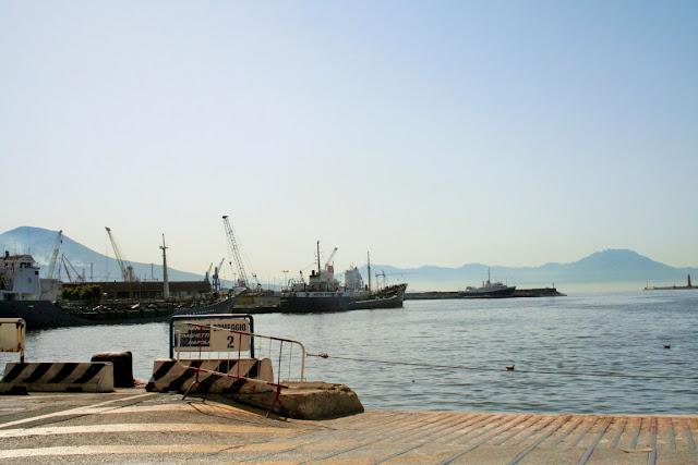porto, navi, mare, acqua, Vesuvio, monti, sole