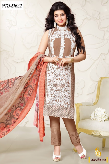 brown white santoon Ayesha Takia bollywood salwar suit 2016 online