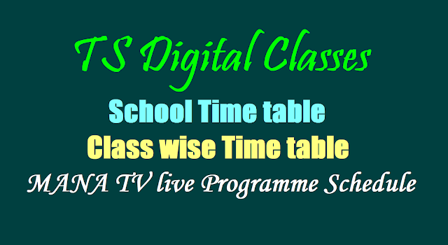 TS Class Digital Classes School,Class wise Time table, Schedule of MANA TV live Programme