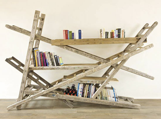 designcreme diy ladder library. Black Bedroom Furniture Sets. Home Design Ideas
