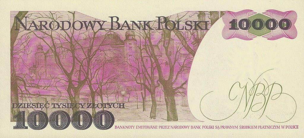 "Poland Banknotes 10000 Zloty banknote 1988 Wyspianski's painting ""Planty Park at Dawn"" Krakow"