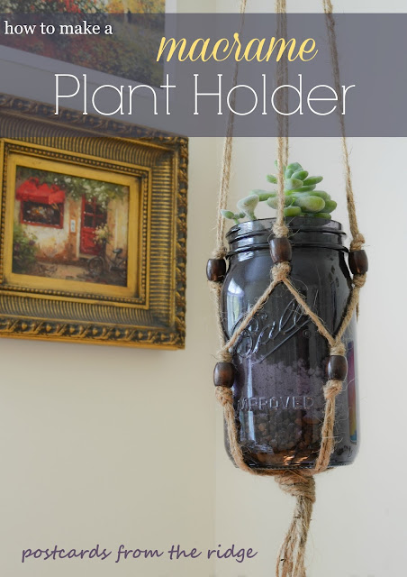 purple mason jar with macrame plant holder