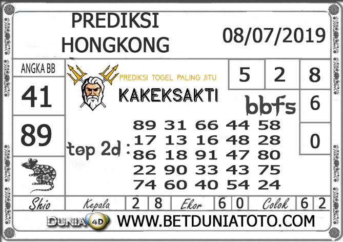 Prediksi Togel HONGKONG DUNIA4D 08 JULI 2019