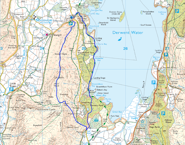 Cat Bells, easy, quick, Catbells, walk, Brandelhow bay, Keswick, Derwent Water, Lakes, Lake District, map, route, best views