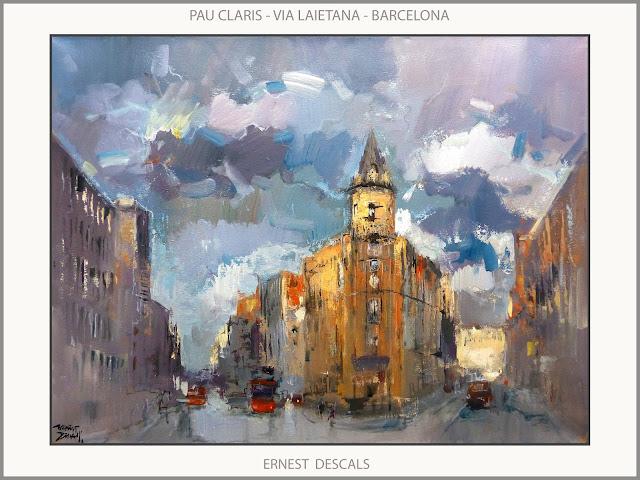 BARCELONA-PINTURA-PAU CLARIS-VIA LAIETANA-PAISATGES-CATALUNYA-PINTURES-ARTISTA-PINTOR-ERNEST DESCALS-