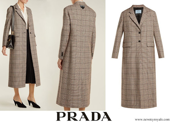 Princess Caroline wore PRADA Single-breasted houndstooth wool-blend coat