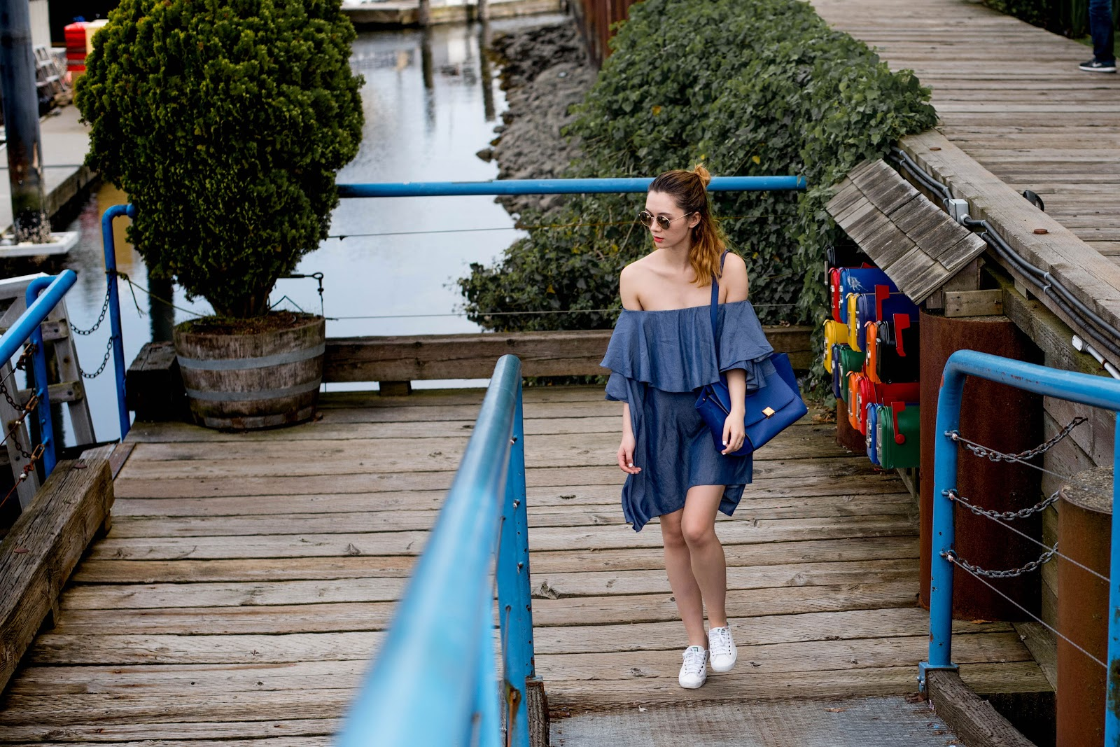 Maison Dress, MLM Label, Celine, Celine trapeze indigo, keds sneakers, granville island, vancouver fashion