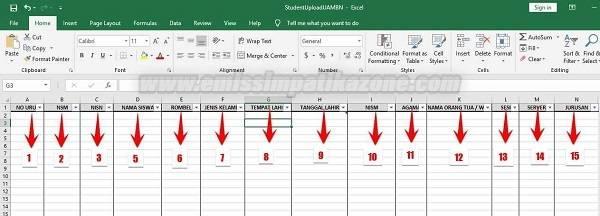 Template Excel Peserta UAMBN Untuk Upload di Aplikasi PDUM