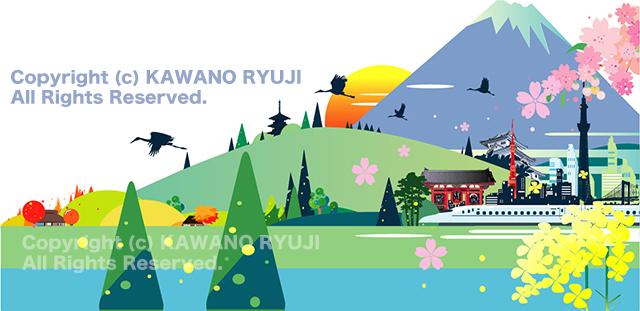 インバウンド、観光イラスト、日本、ランドマーク、和風イラスト、ストックイラスト