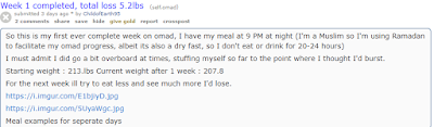 A Redditor sharing their experience on OMAD