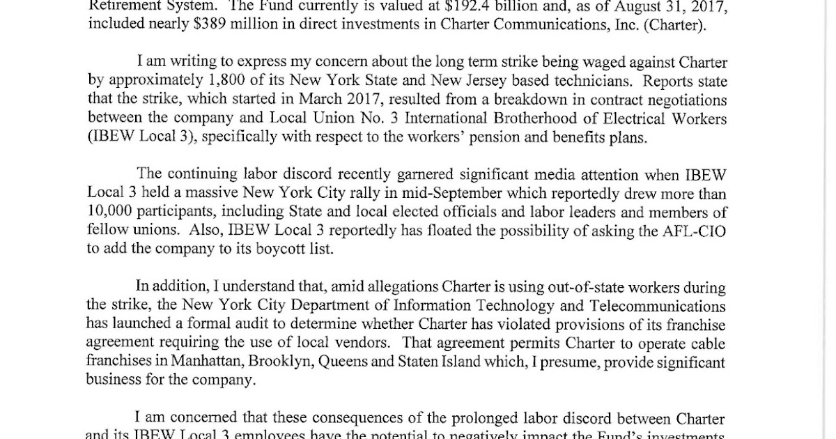 A LETTER TO CHARTER/SPECTRUM FROM N.Y.S. COMPTROLLER THOMAS P ...