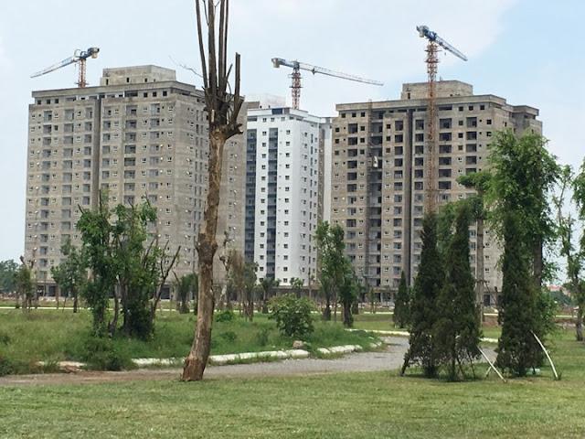 Chung cư HH01 có khuân viên cây xanh bao quanh