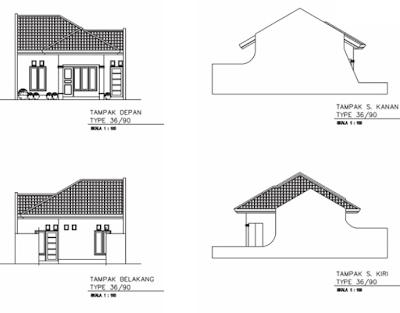 sketsa rumah minimalis tampak depan samping belakang