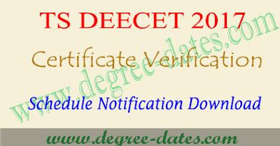 TS Deecet 2017 certificate verification dates dietcet ttc telangana