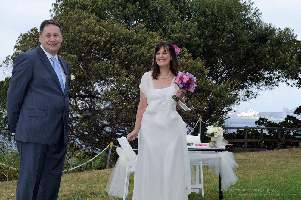 A cheerful moment during the ceremony at a Garden Wedding in Sydney. Captured by Unique Event Photography.