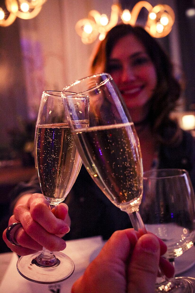 Champagne toast at Kitchen 320 in Savannah, Georgia.