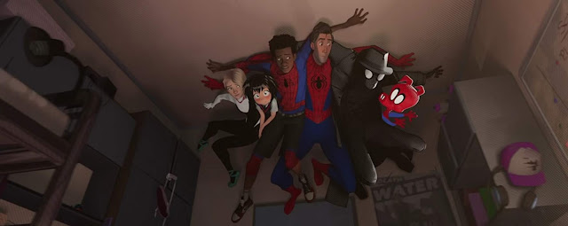 Nicolas Cage, John Mulaney, Jake Johnson, Hailee Steinfeld, Shameik Moore, and Kimiko Glenn in Spider-Man: Into the Spider-Verse (2018)