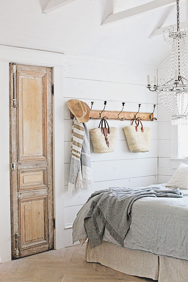 Farmhouse style decor from Dreamy Whites in a charming bedroom.