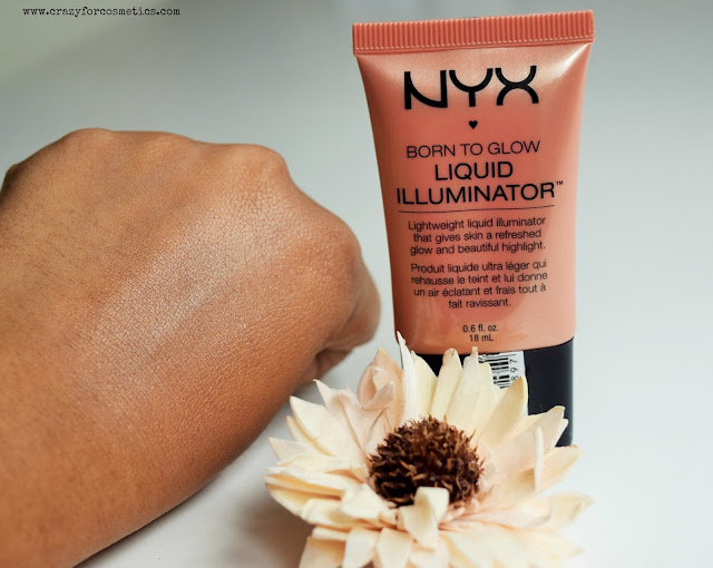 NYX born to Glow liquid highlighter in Gleam swatched