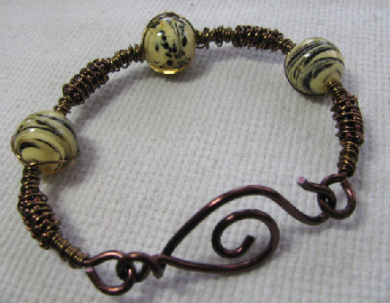 beading arts another wire and bead bracelet variation