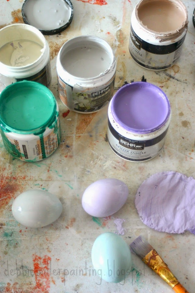 pastel paint and Easter eggs