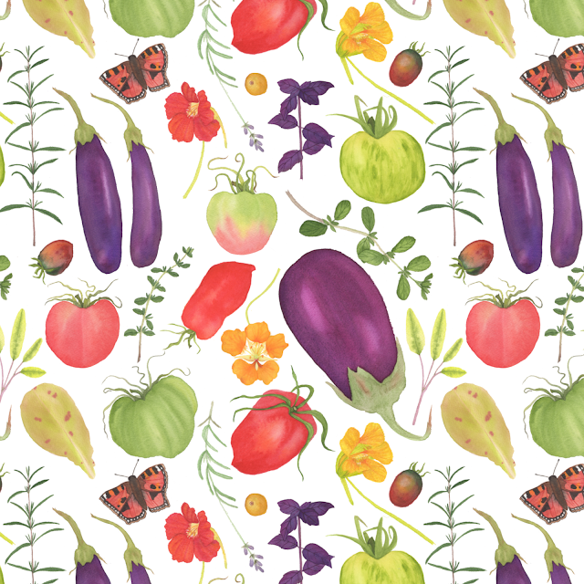 fabric design, surface pattern design, Watercolor Kitchen Garden, watercolor fabric design, vegetable garden, Anne Butera, My Giant Strawberry