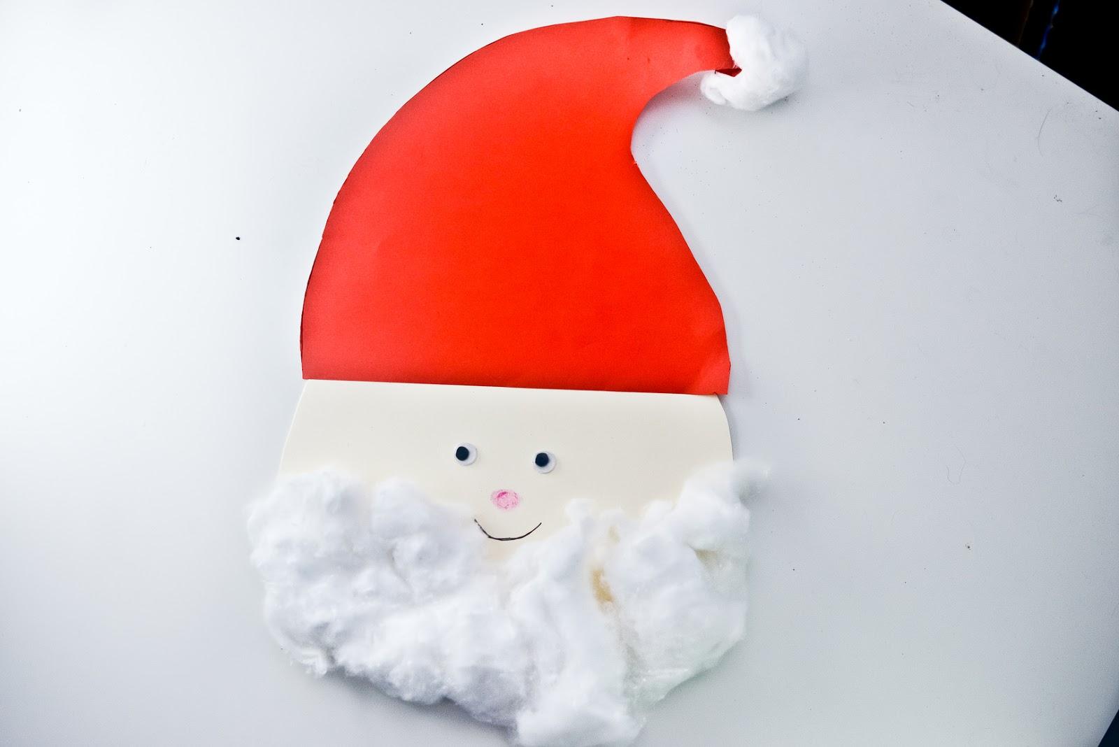 santa cotton wool craft christmas, father christmas