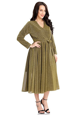 Gold Ruched Long Sleeves Surplice Midi Skater Dress | Lookbook Store