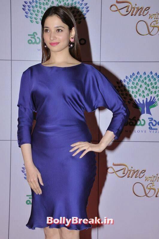 Tamanna Pictures, Tamanna Bhatia Hot Pics in Blue Dress