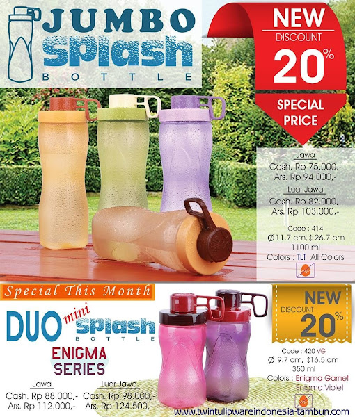 Special Price Tulipware Maret 2016, Jumbo Splash Bottle, Mini Splash Bottle, Enigma Series