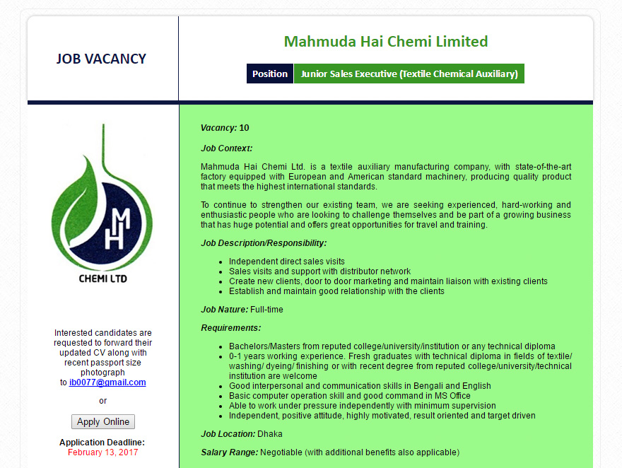 Mahmuda Hai Chemi Ltd - Post: Junior Sales Executive (Textile