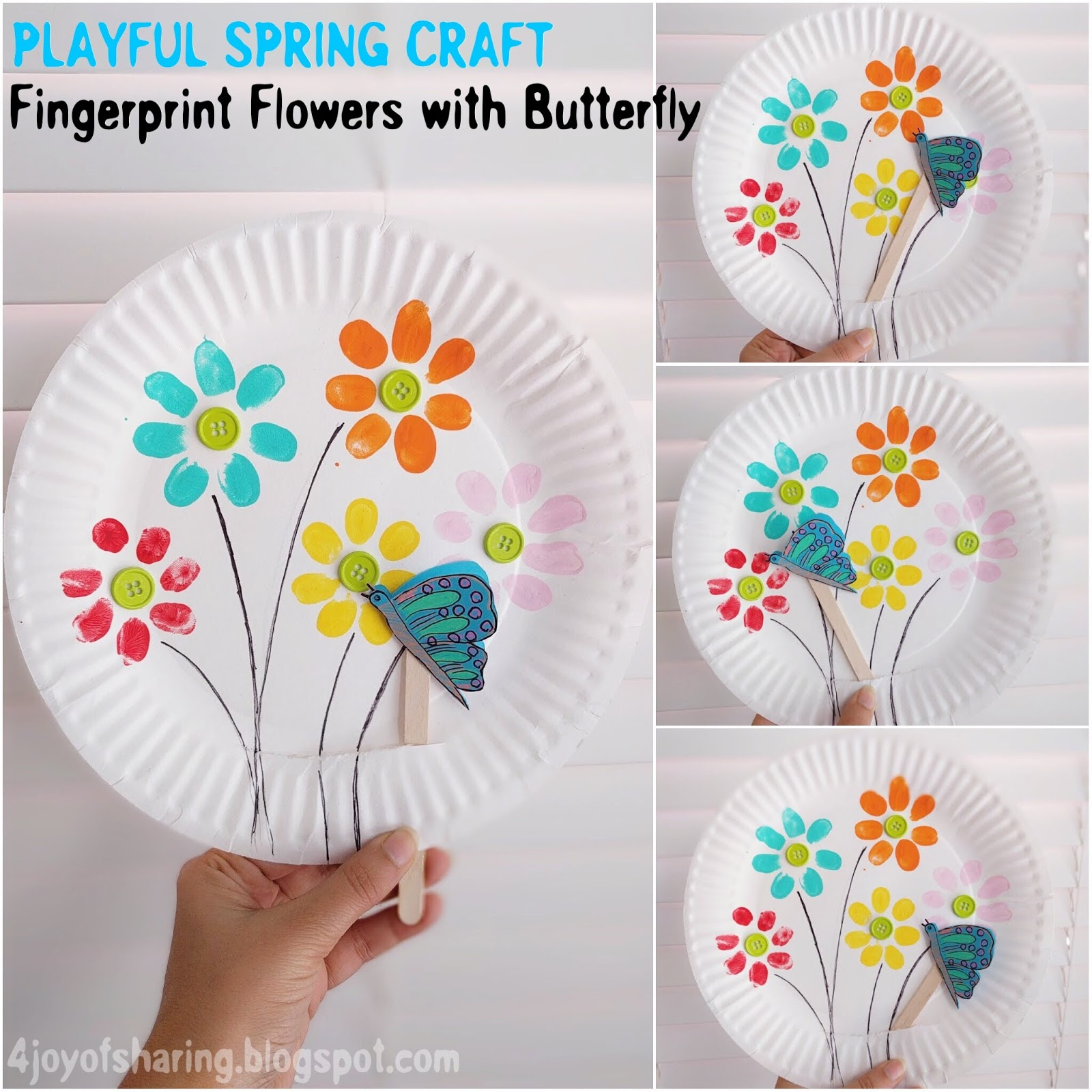Fingerprint Flowers And Flying Butterfly Playful Spring Craft For