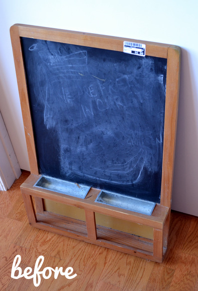 Chalkboard makeover before photo. Here's the chalkboard before we spruced her up with spray paint!