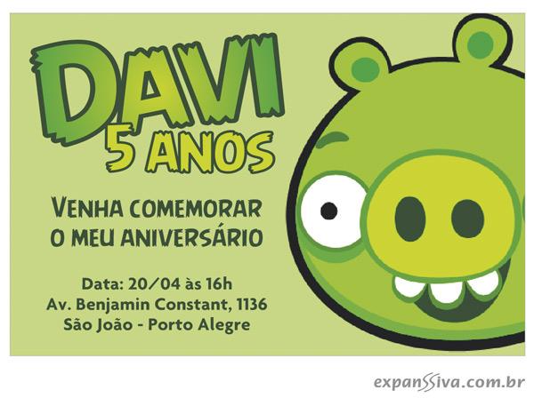 Convites de Aniversário Personalizados Angly Birds 03