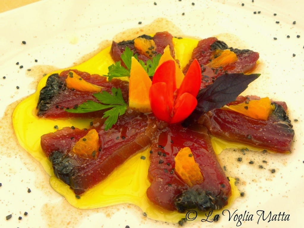 Enoteca di Sgonico sul Carso triestino tonno della Dalmazia con arancia