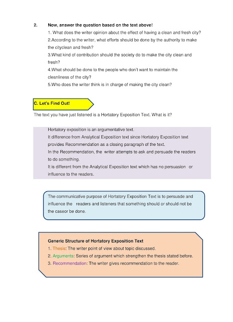 Hortatory Exposition Text English Module For Students