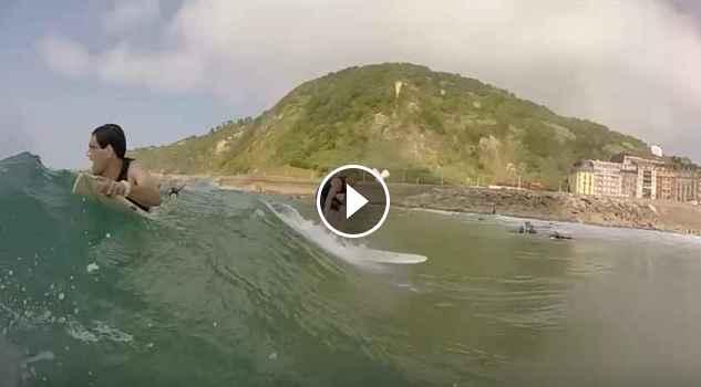Surfing Zurriola in summer vomitive