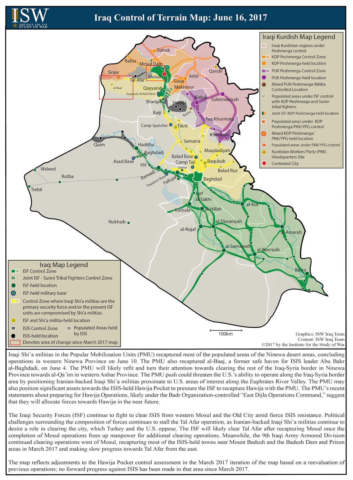 ISW Blog Iraq Control Of Terrain Map June - Iraq map