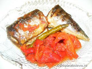 Peste la grill cu rosii si ardei copti retete culinare,